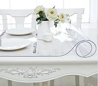 Прозрачная силиконовая скатерть на стол Soft Glass Защита для мебели 1.0х1.6 м Толщина 1.5 мм Мягкое стекло