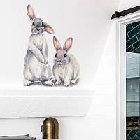 """Виниловые наклейки на стену, двери, окна, витрины """"два зайца кролика"""" 27см*38см (лист30*40см)"""