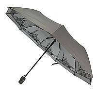Женский складной зонт-полуавтомат с серебристым напылением и принтом  городов от Flagman, серый, 713-1, фото 1