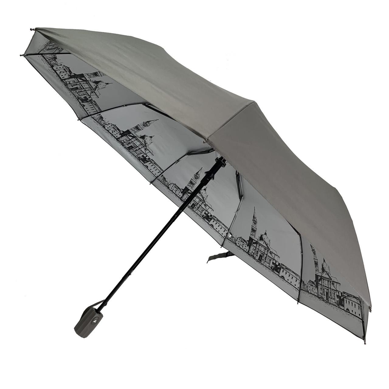 Женский складной зонт-полуавтомат с серебристым напылением и принтом  городов от Flagman, серый, 713-1