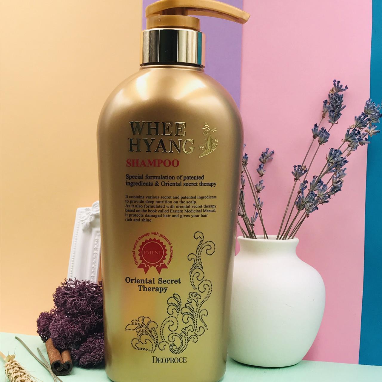 Укрепляющий шампунь с корнем женьшеня и Восточным гербарием Deoproce Whee Hyang Shampoo