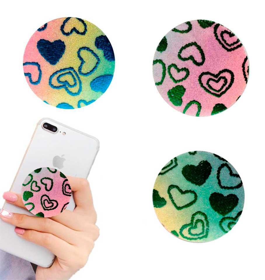 Попсокет держатель для телефона PopSocket Сердечки с блестяшками(разные варианты)