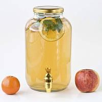 Лимонадница стеклянная 4,25 л Gold с пластиковым краном