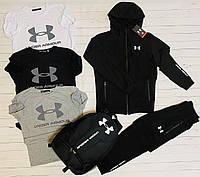 Спортивный костюм мужской Under Armour zipp черный | трикотажный осенний демисезонный ЛЮКС
