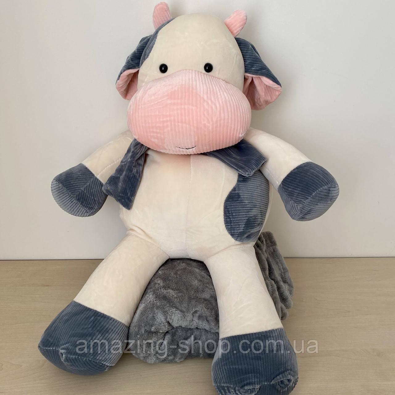 Плед подушка игрушка 3в1. Дитяча іграшка - плед бычок. Размер игрушки 45 см. Плед размер 120*160см.
