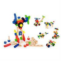 Развивающий набор конструктор для творчества мальчику Viga Toys Набор строительных блоков 68 деталей, от 3 лет