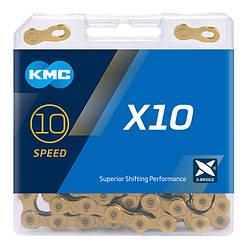 Цепь KMC X10 Gold для 10 скоростных трансмиссий велосипеда