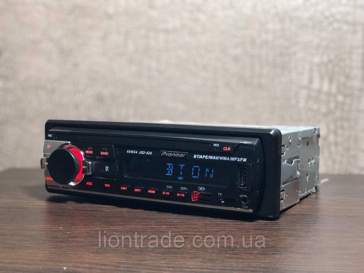 Автомагнитола Pioneer JSD-520BT RED с Bluetooth, 4*60 Вт! 2×USB, FM