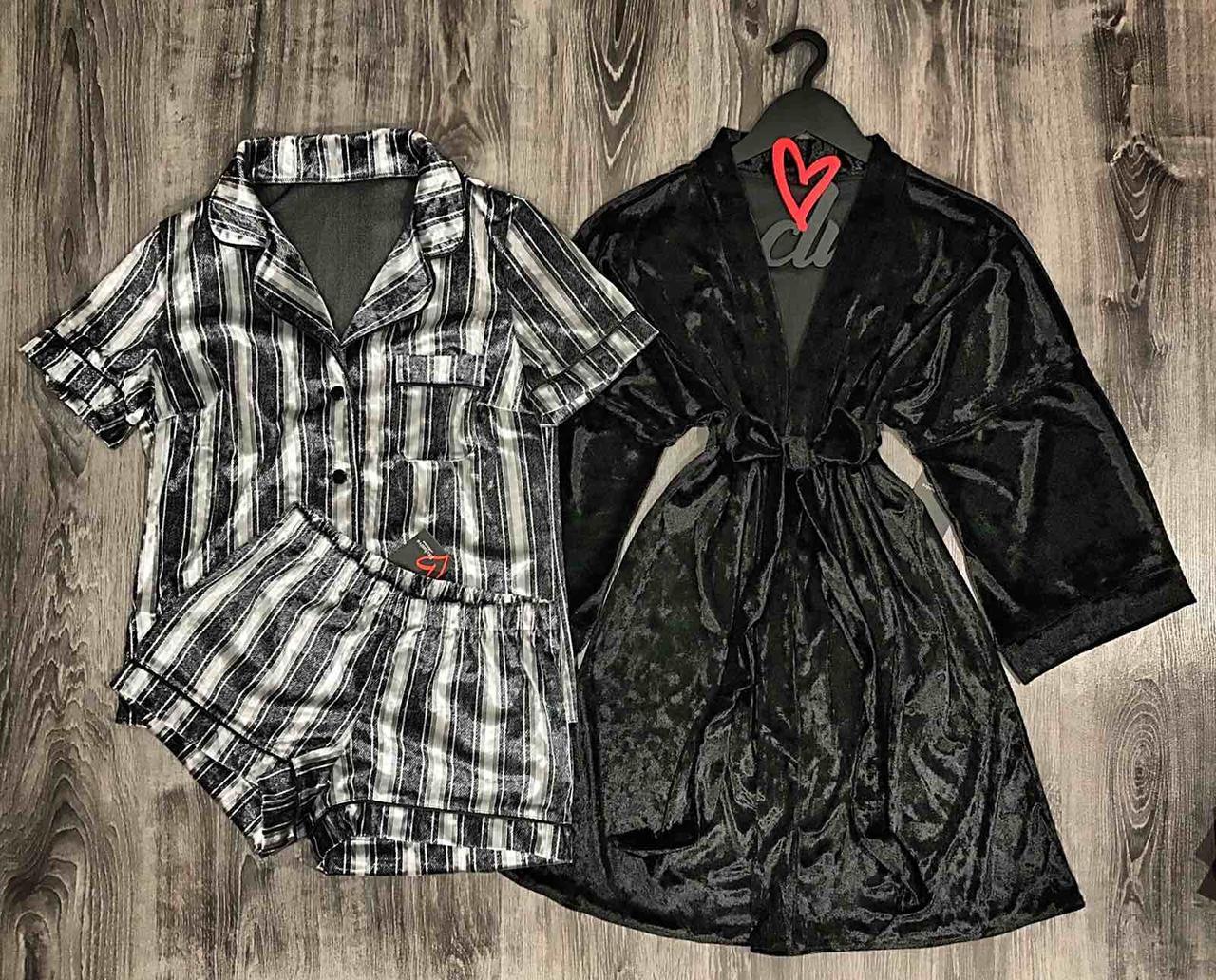 Велюровый комплект тройка для сна и отдыха, халат+пижама.