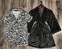Комплект в пижамном стиле рубашка шорты+халат.