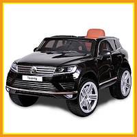 Детский ездовой электромобиль с МР4 монито Volkswagen Touareg KD666 покраска (Черный)
