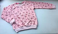 Реглан для девочки розовый цветы на рост 86-98