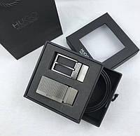 Мужской кожаный брючной ремень в стиле Boss (209), подарочный набор, фото 1