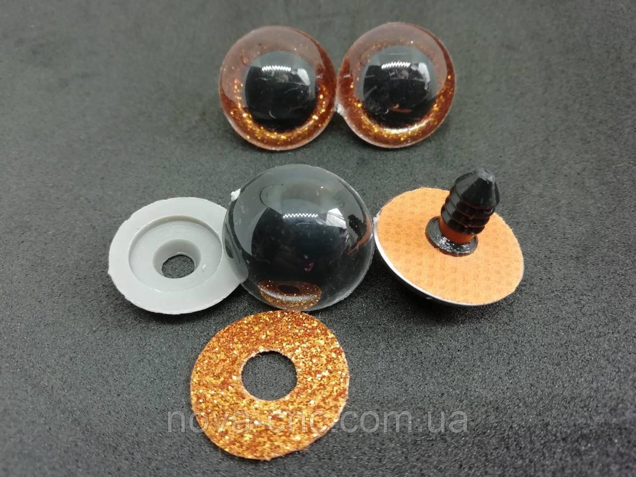 Глазки Акриловые для игрушек с глитерной цветной подложкой и пластиковым крепежом 20 мм Цвет оранжевый