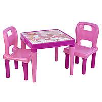 Столик с двумя стульчиками детский учебный игровой пластиковый розовый для девочек Pilsan 3 до 10 лет Турция