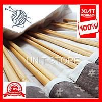 Бамбуковые спицы 39 см, Спицы, крючки и аксессуары для вязания, Набор бамбуковых спиц, Чехол для спиц подарок