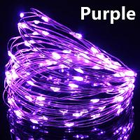 Светодиодная гирлянда нить, проволка, на батарейках 10 м., Purple, фиолетовый