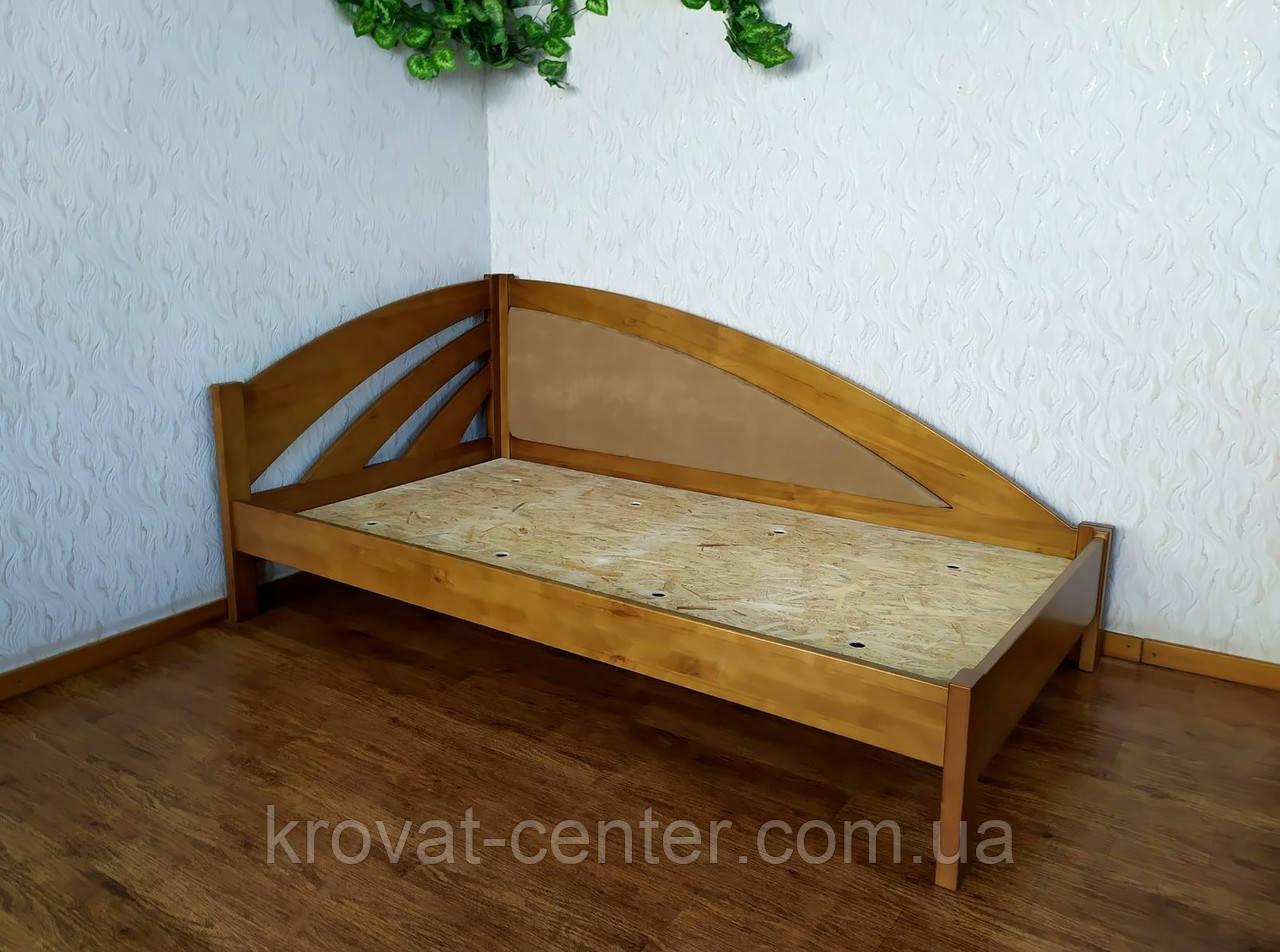 """Деревянная полуторная кровать с мягкой спинкой """"Радуга Люкс"""" от производителя"""