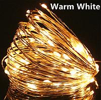 Светодиодная гирлянда нить, проволка, на батарейках 10 м., Warm White, теплый белый