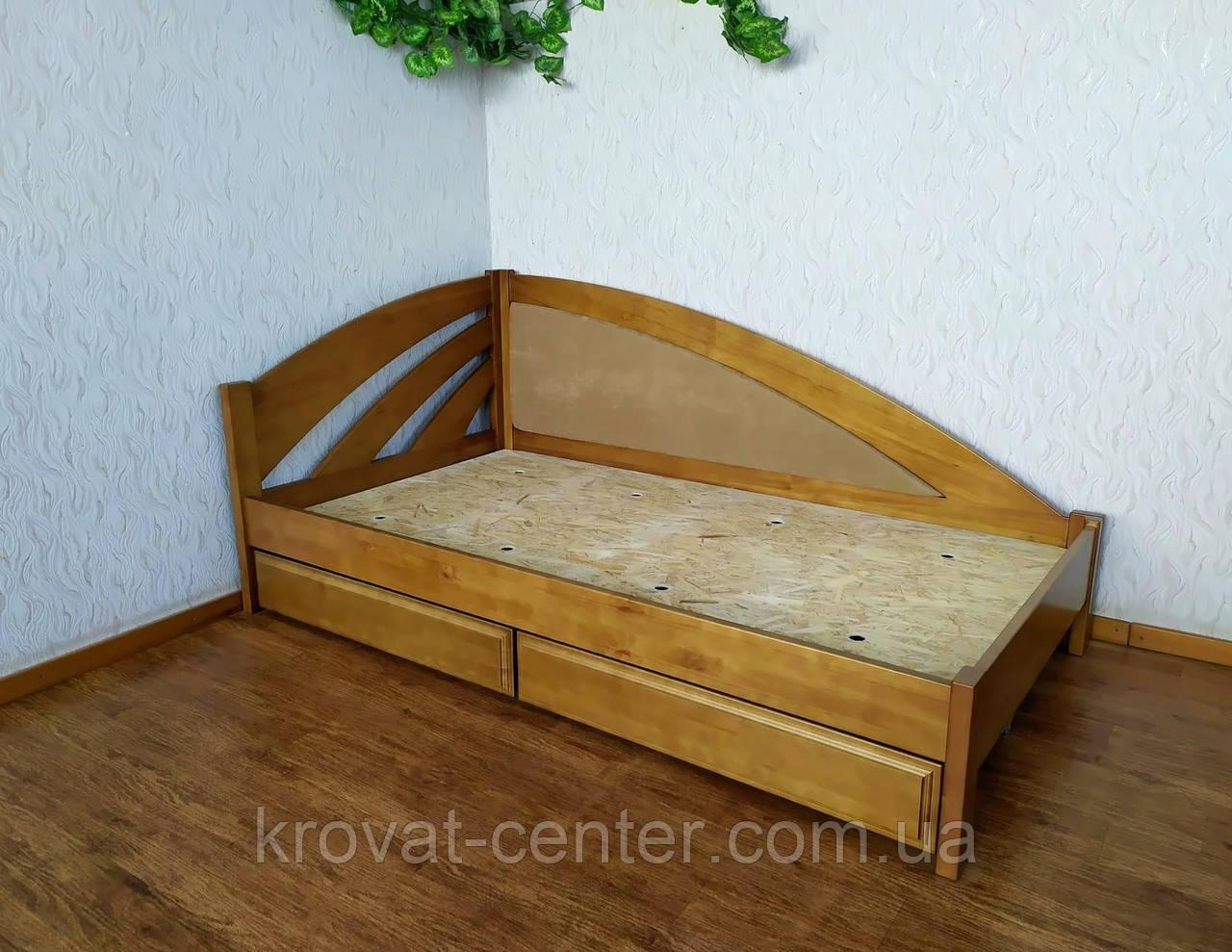 """Кровать полуторная с мягкой спинкой """"Радуга Люкс"""" и с выдвижными ящиками"""