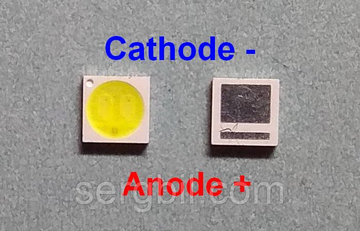 Світлодіод 1Вт 3030 EMC білий 6000К 300мА, 3В широкий катод (-)