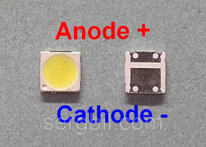 2Вт светодиод 3030 PCT белый 6000К 300мА 6В широкий катод (-)