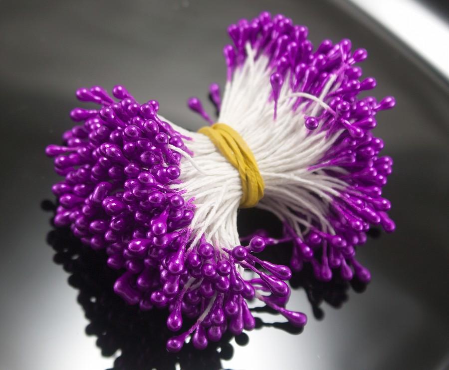 Тычинки глянцевые ≈3400шт (≈1700 двухстор.ниток) 3х5мм головка, Фиолетовые тычинки