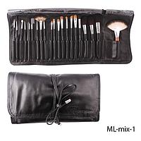 Набор кистей для макияжа ML-mix-1 - 21шт (ворс: соболь,нейлон) в мягком чехле на завязках (черный)  Lady Victory