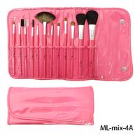 Набор кистей для макияжа ML-mix-4A - 12шт (ворс: нейлон,соболь) в мягком чехле на кнопках (розовый)  Lady Victory