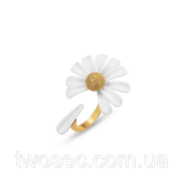 Женское кольцо  с цветком ромашки Daisy Wheel белое керамика, открытые безразмерные женские кольца без камней