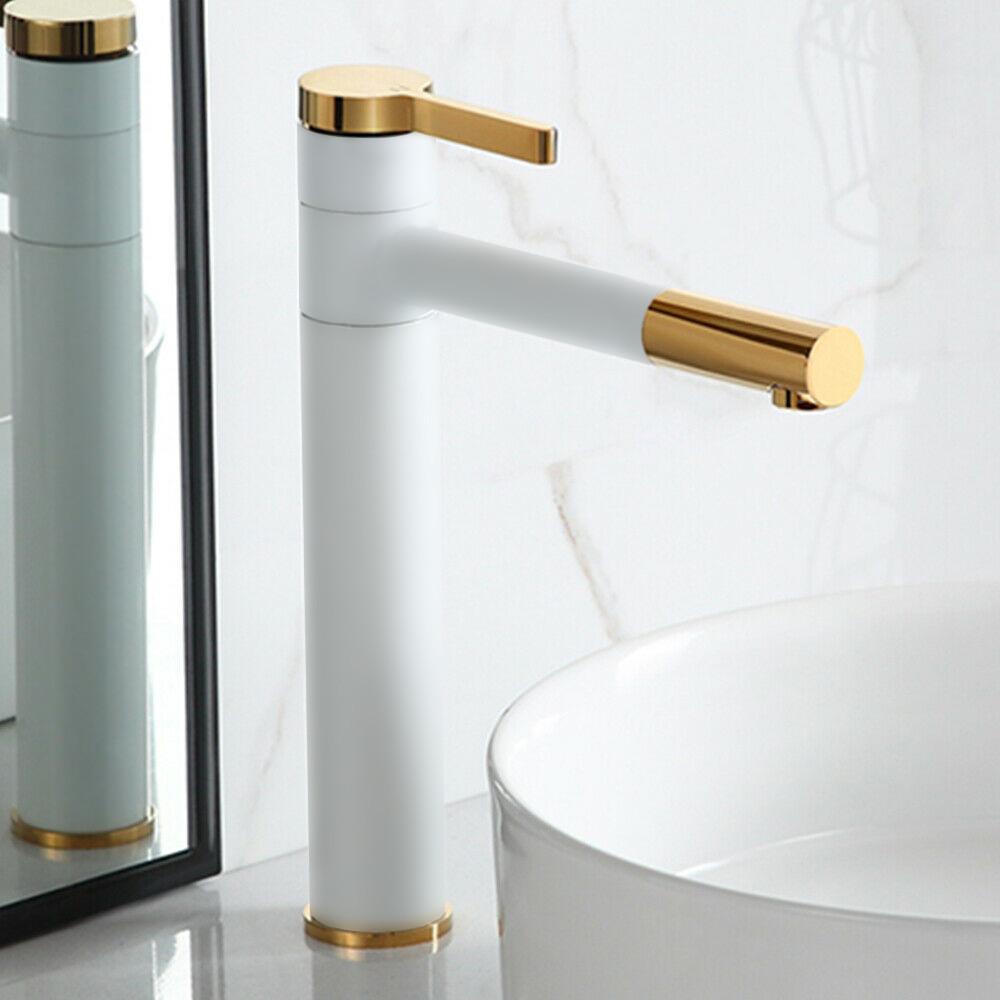 Смеситель для раковины (умывальника) REA SMART WHITE GOLD белый / золотой высокий