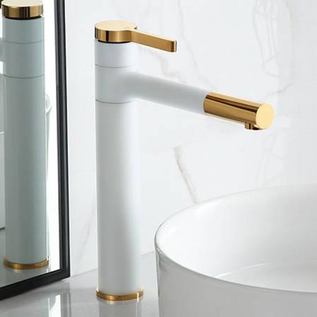 Смеситель для раковины (умывальника) REA SMART WHITE GOLD белый / золотой высокий, фото 2