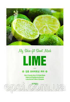 Тканевая маска для лица с экстрактом лайма A pieu My Skin-Fit Sheet Mask Lime, 25 г