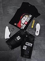 Темно-серые мужские джинсовые шорты свободные рваные с надписями Мужские летние темные джинсовые шорты рваные