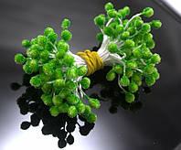 Тычинки сахарные ≈1400шт,(≈700 двухстор.ниток) 4х5мм головка, Зеленые сахарные тычинки, фото 1