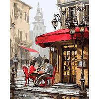 """Набор для рисования по номерам на холсте Идейка пейзаж """"Свидание в кафе"""" 40х50 см., сложность 3"""