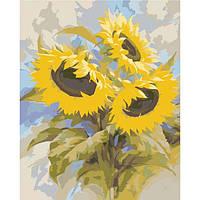 """Картина по номерам на холсте цветы Букеты """"Подсолнухи"""" Идейка 40х50 см., сложность 3"""