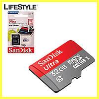Карта памяти 32 Гб с адаптером / SanDisk MicroSDHC 32Gb Class 10
