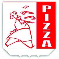 """Коробка под пиццу 30х30х3см., 30 шт/уп картонная, белая с логотипом """"Pizza"""""""