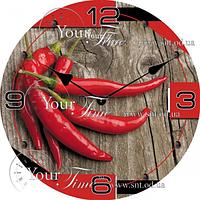 Часы настен. серия Кухня Перец Чили стекло/кругл. 28см