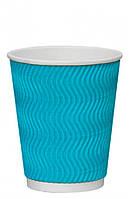 Стакан бумажный гофрированный S-волна голубой 350мл Ǿ=90мм, h=110мм, фото 1