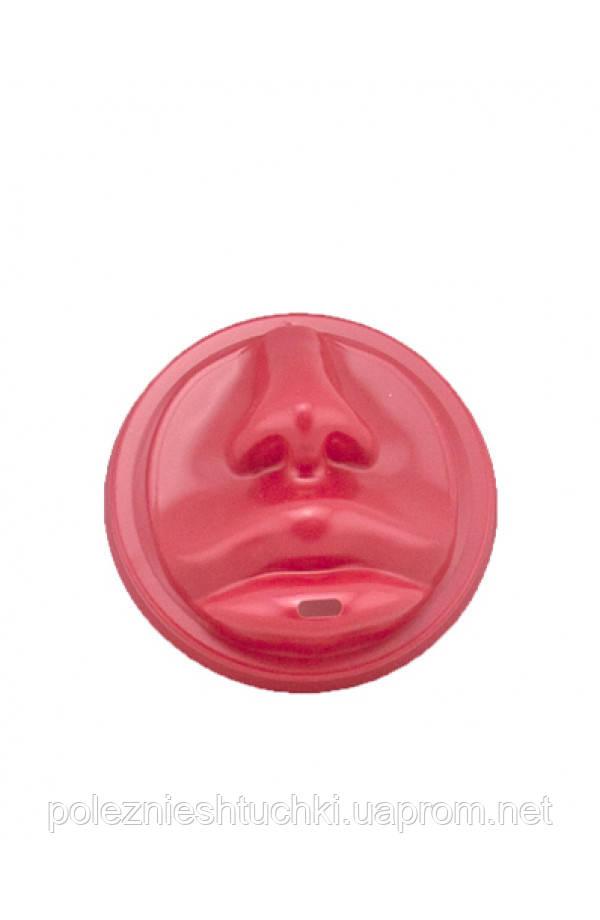 Крышка PS красная в форме губ для бумажных стаканов Ǿ=80мм