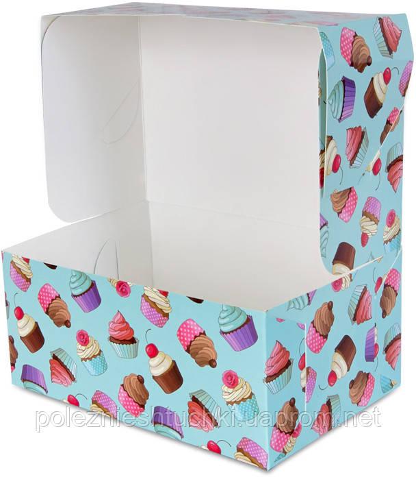 """Бокс одноразовый для десертов 18х12х8 см., 100 шт/уп бумажный, цветной """"Капкейки"""""""