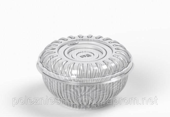 Салатник одноразовый с крышкой и круглый 16,2х8,2х8,2 см., 780+50 мл., 300 шт полистирольный, прозра