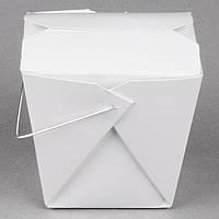 Бокс одноразовый для WOK/Салат/Рис/Лапша 480 мл., 9,5х7,5х9 см. бумажный с металлической ручкой, белый