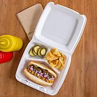 Ланч-бокс 3-х секционный для обедов 21,5х20х8,5 см. 100 шт/уп. из вспененного полистирола, белый