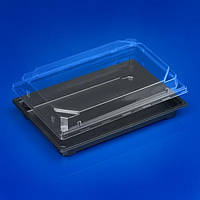 Упаковка для суши 24х17х5,5 см., 320 шт/ящ из полистирола черный с прозрачной крышкой ПРС 25
