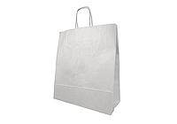 Пакет бумажный с дном 26х14х33,5 см., 70 г/м2, 150 шт/ящ с кручеными ручками, белый крафт (813000)