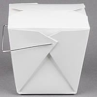 Бокс одноразовый для WOK/Салат/Рис/Лапша 720 мл., 10,8х9х10 см. бумажный с металлической ручкой, белый