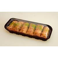 Контейнер для суши 21х8,8 см., 500 мл., 600 шт/ящ из полистирола с крышкой, коричневое дно ITEX IT-129